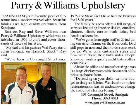 Parry & Williams Pty Ltd | furniture store | 104 Connaught St, Sandgate QLD 4017, Australia | 0732693234 OR +61 7 3269 3234
