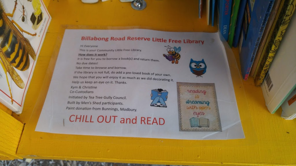 Billabong Reserve Little Free Library   library   Unnamed Road, Modbury Heights SA 5096, Australia