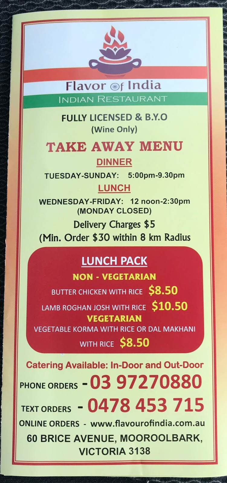 Flavor Of India | meal takeaway | 60 Brice Ave, Mooroolbark VIC 3138, Australia | 0397270880 OR +61 3 9727 0880