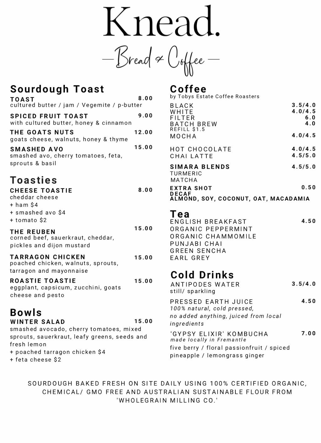 Knead - Bread and Coffee   cafe   Luna Maxi Mart Shopping Centre, 6 Scarborough Beach Rd, Scarborough WA 6019, Australia