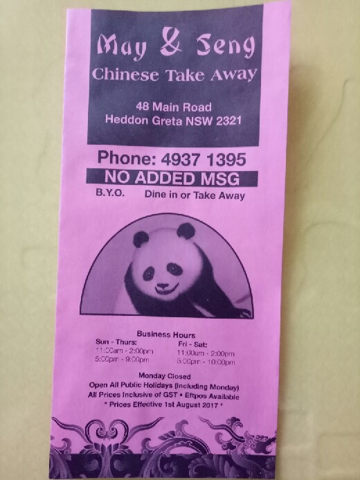 May & Seng Chinese Take Away | meal takeaway | 48 Main Rd, Heddon Greta NSW 2321, Australia | 0249371395 OR +61 2 4937 1395