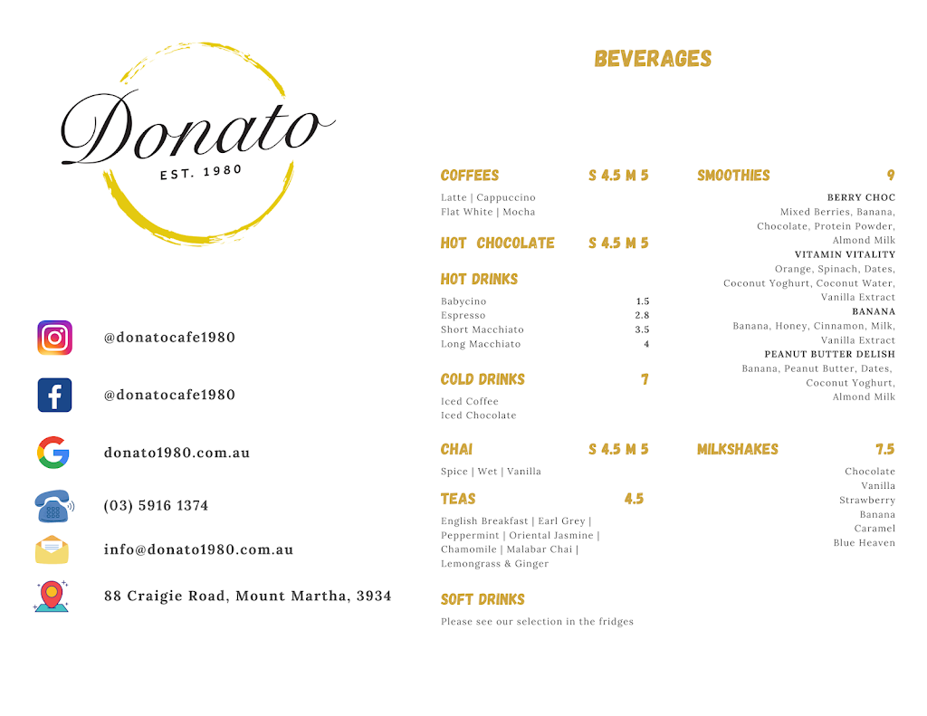 Donato est 1980 | cafe | 88 Craigie Rd, Mount Martha VIC 3934, Australia | 0359161374 OR +61 3 5916 1374