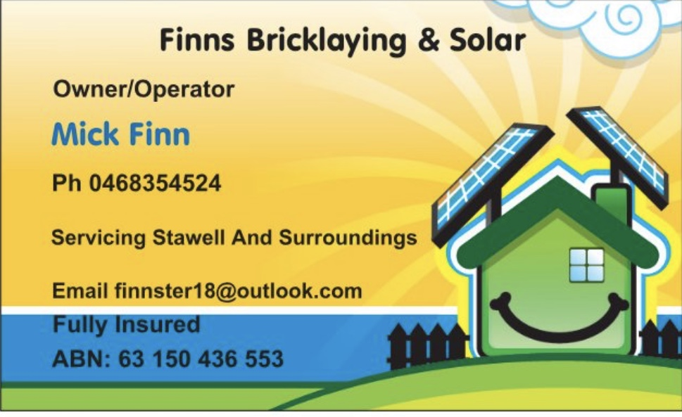 Finns Bricklaying & Solar   general contractor   12 Austin St, Stawell VIC 3380, Australia   0468354524 OR +61 468 354 524