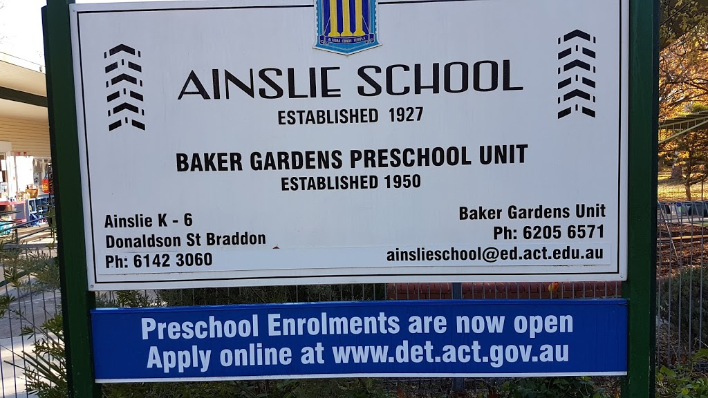 Baker Gardens Preschool | school | 2 Baker Gardens, Ainslie ACT 2602, Australia