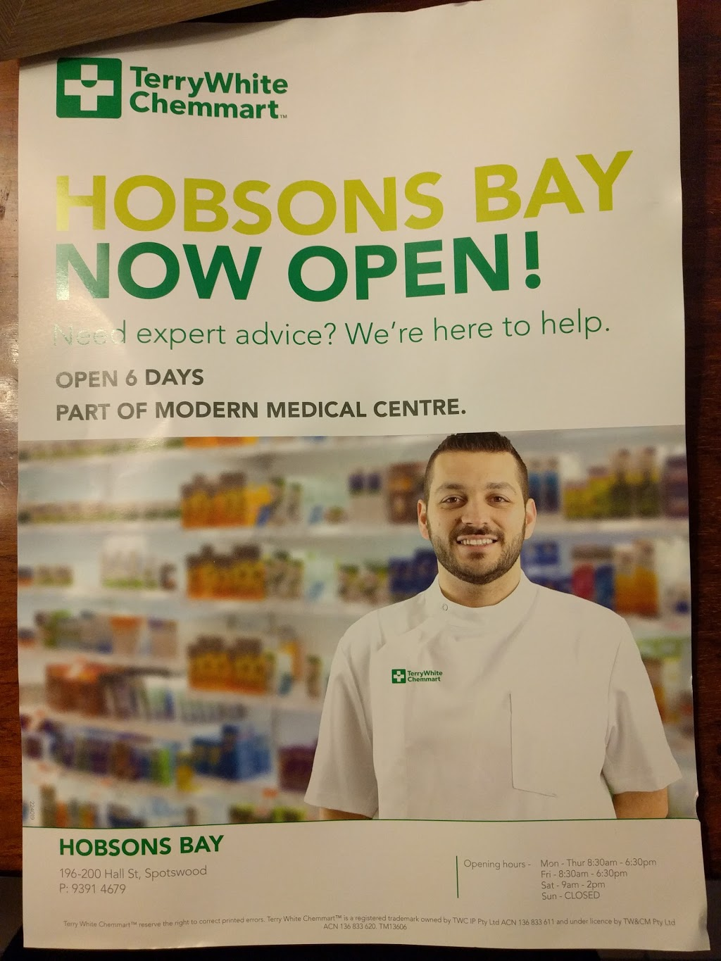 TerryWhite Chemmart Hobsons Bay | pharmacy | 196-200 Hall St, Spotswood VIC 3015, Australia | 0393914679 OR +61 3 9391 4679