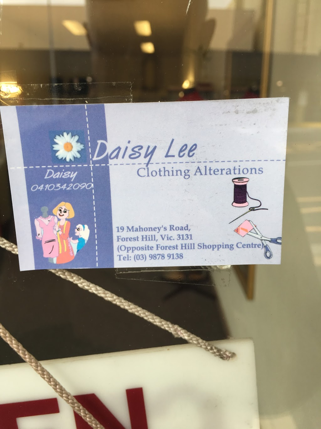 Daisy Lee Alteration Services | store | 19 Mahoneys Rd, Forest Hill VIC 3131, Australia | 0398789138 OR +61 3 9878 9138