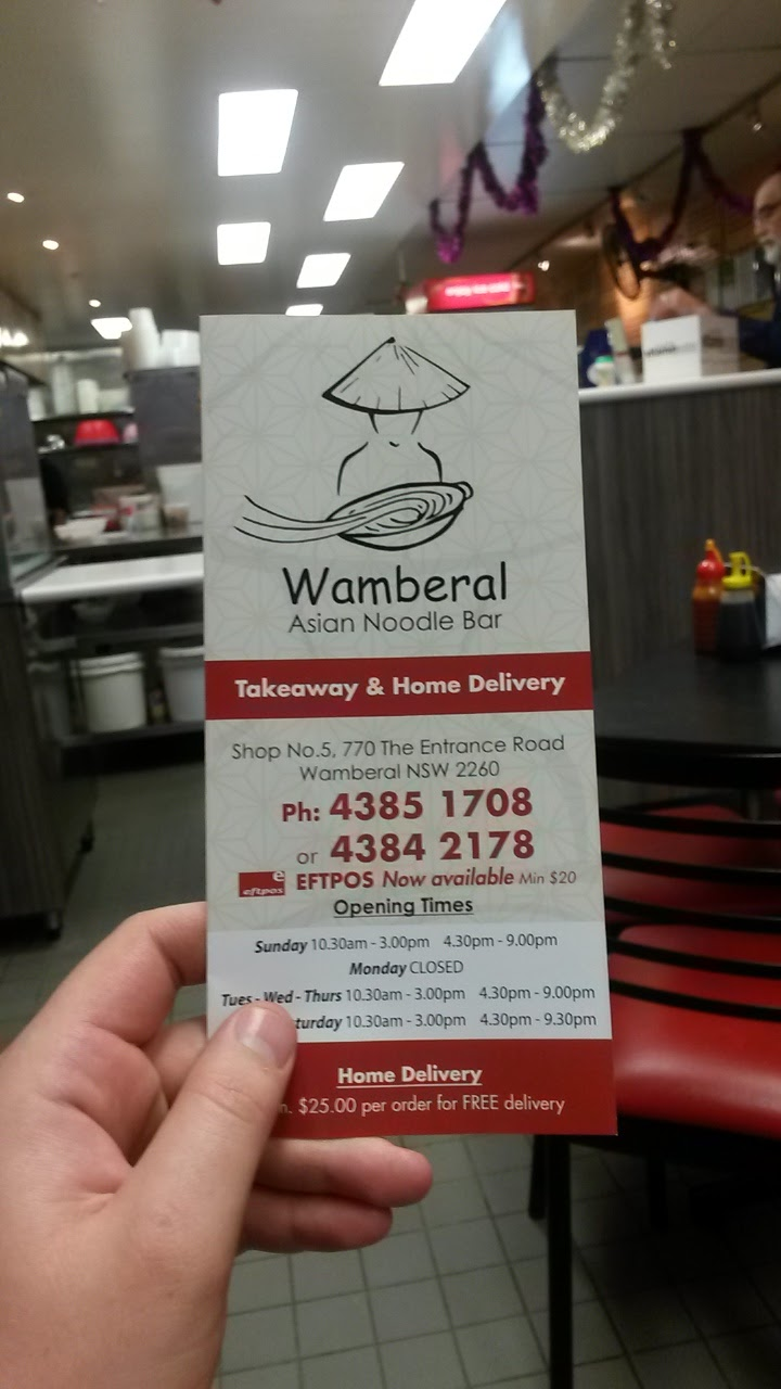 Wamberal Asian Noodle Bar & Takeaway | meal takeaway | 770 The Entrance Rd, Wamberal NSW 2260, Australia | 0243851708 OR +61 2 4385 1708