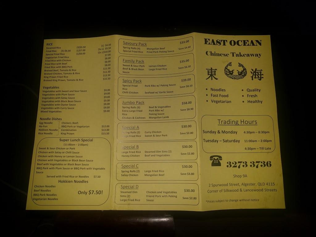 East Ocean Chinese Takeaway | meal takeaway | 9 Lancewood St, Algester QLD 4115, Australia | 0732733736 OR +61 7 3273 3736