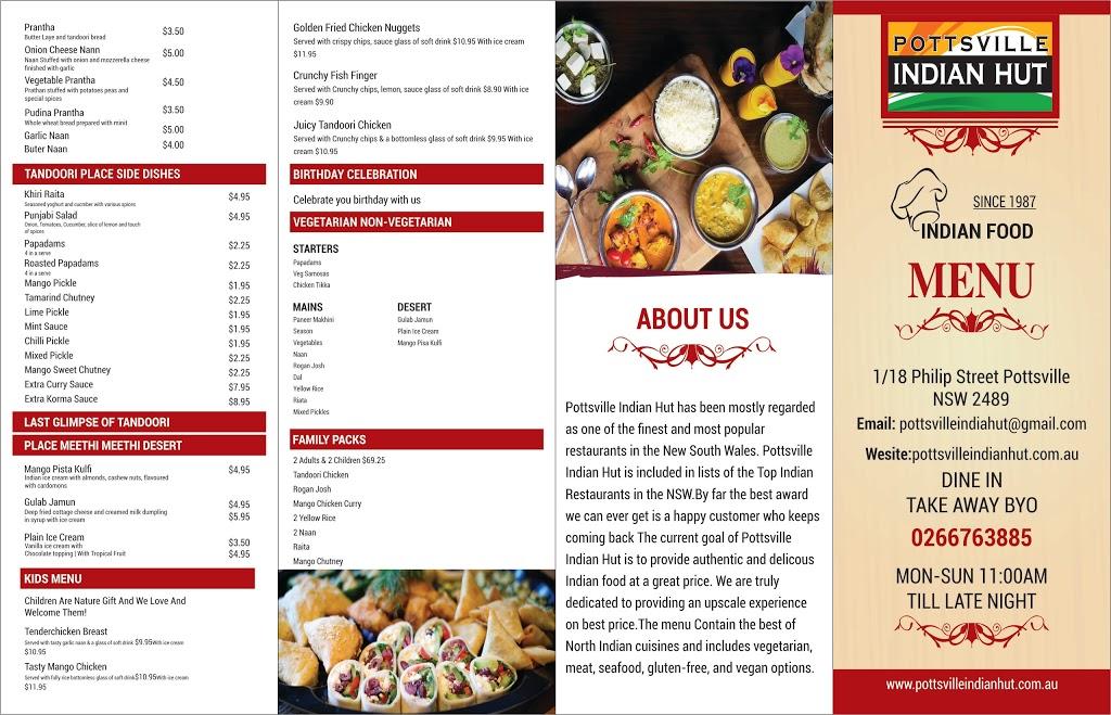 Pottsville Indian Hut | restaurant | 1/18 Philip St, Pottsville NSW 2489, Australia | 0266763885 OR +61 2 6676 3885