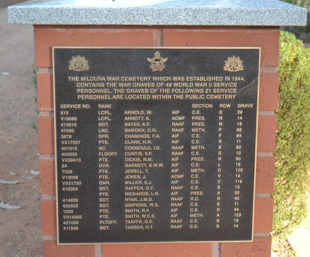 Military Cemetery | cemetery | Cemetery Residence, 75 Karadoc Ave, Nichols Point VIC 3501, Australia